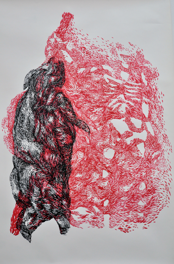 90x120cm / en.chine & rouge écarlate / photographie Julien Robiche